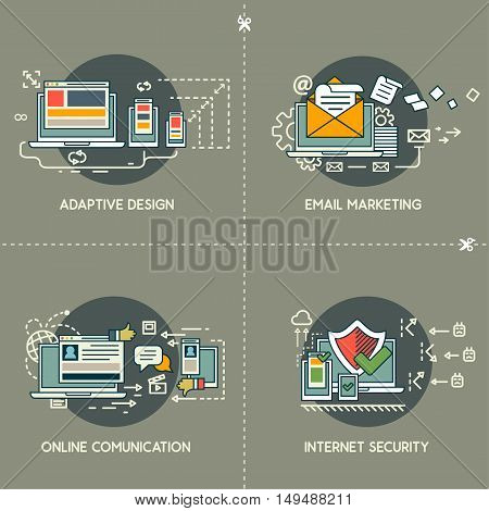 E-marketing, adaptive design, comunication, internet security on gray background