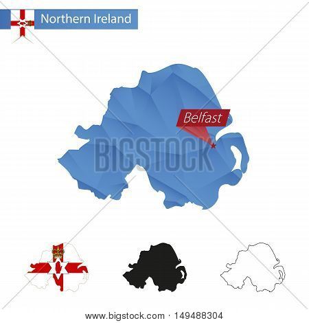 Northern Ireland Blue Low Poly Map With Capital Belfast.