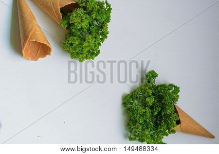 Bunch of curled parsley in sweet waffle sugar cones on gray background