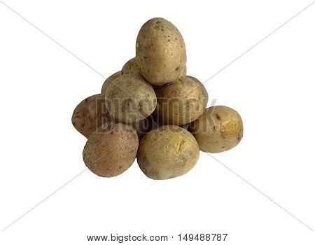 potatoes folded onto each other. cooked in the skins. isolate on white background without shadows. easy to cut your project.