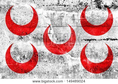 Flag Of Qormi, Malta, Painted On Dirty Wall