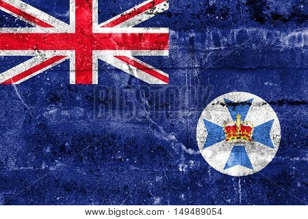 Flag Of Queensland State, Australia, Painted On Dirty Wall