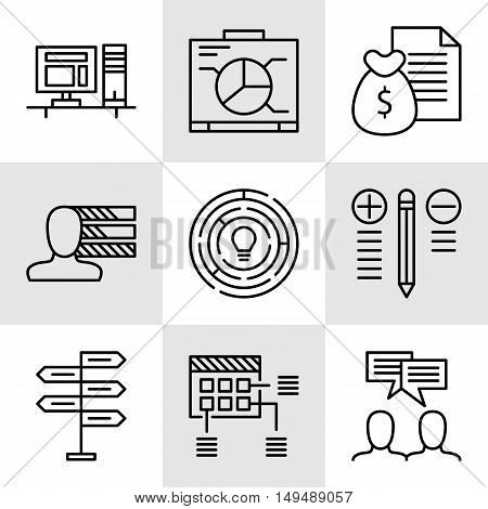 Set Of Project Management Icons On Decision Making, Personality And Team Meeting. Project Management