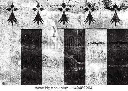 Flag Of Rennes, France, Painted On Dirty Wall