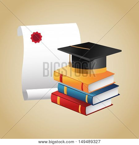 Books graduation cap and diploma icon. Education school and classroom theme. Colorful design. Vector illustration