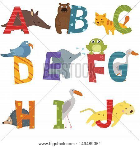Cute vector zoo alphabet. Funny cartoon animals: aadvark bear cat dove elephant frog goose hedgehog ibis jaguar
