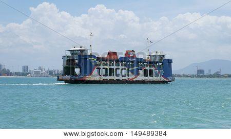PENANG, MALAYSIA - September 24, 2016: Penang Heritage Ferry transporting passengers from main land to Penang Island.