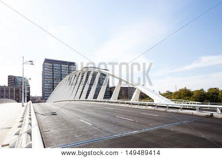 modern bridge, alameda metro station in the Park Turia Gardens, Valencia