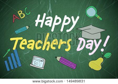 Teachers day concept. Text on chalkboard