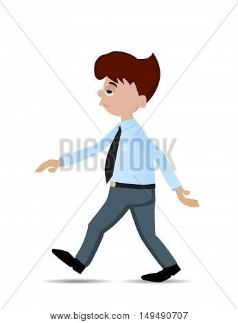cartoon businessman walking with lazy expression isolated