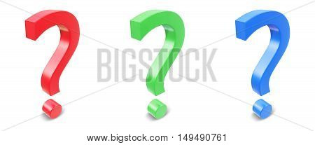 Set a question mark isolated on white background. 3d rendering.