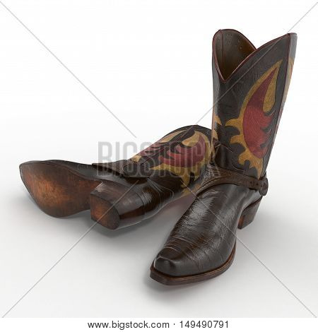 Brown Cowboy Boots with ornamental stitching on white background. 3D illustration