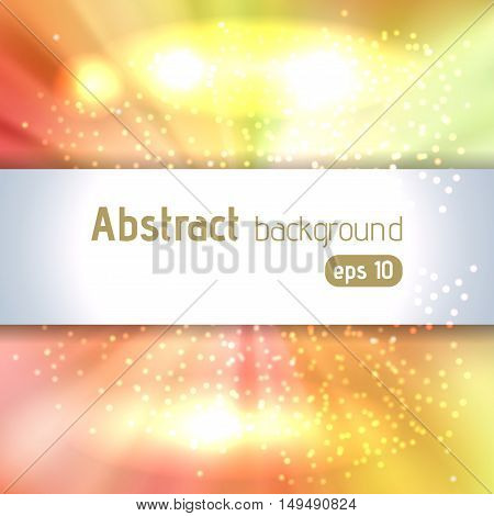 Sunburst Background With Glittering Stars. Beautiful Rays Of Light. Vector Illustration. Yellow, Ora