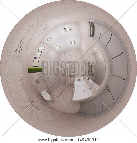 3D Rendering Seamless Panorama Of Bathroom Interior