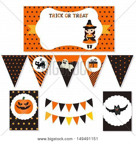 Set of halloween party elements with cute halloween objects. Halloween party package.