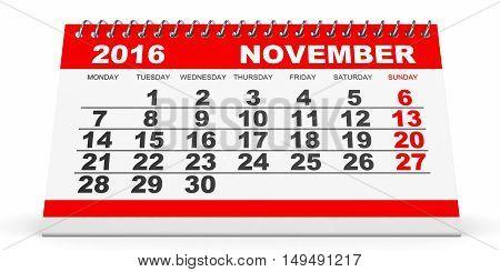 Calendar November 2016 On White Background.