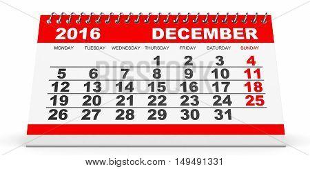Calendar December 2016 On White Background.