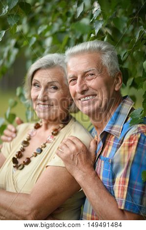 Portrait of a nice mature couple in spring park