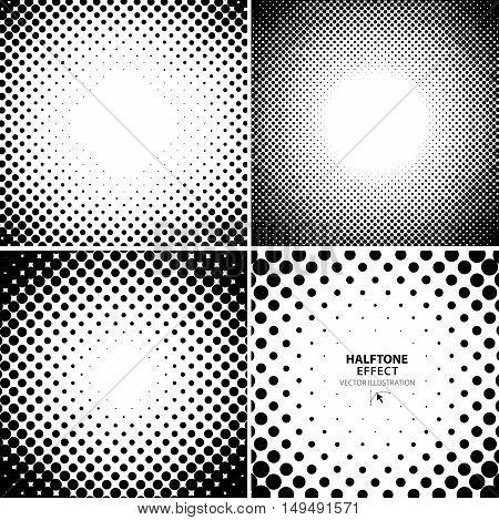 Abstract black halftone backgrounds set. Vector illustration.