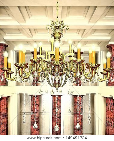 Three-tiered chandelier with candles and crystal pendants. 3D illustration