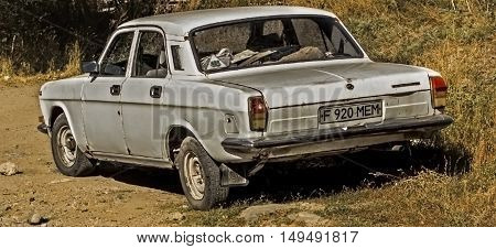 Kazakhstan, Ust-Kamenogorsk, september 30, 2016: volga, old car, old soviet car in the street, gaz 24, vintage car, retro car, old sedan