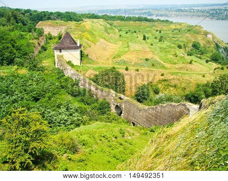 Aerial view on a fortress in a Khotyn town in Ukraine