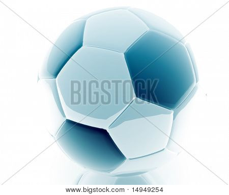 Soccer ball illustration glossy metal style isolated