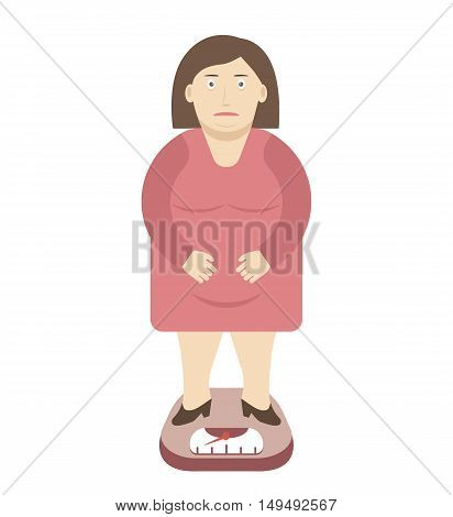 Overweight obese fat woman on the weight scale. Weight loss and healthy food concept. Vector illustration flat design