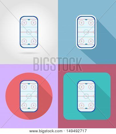 hockey stadium flat icons vector illustration isolated on background
