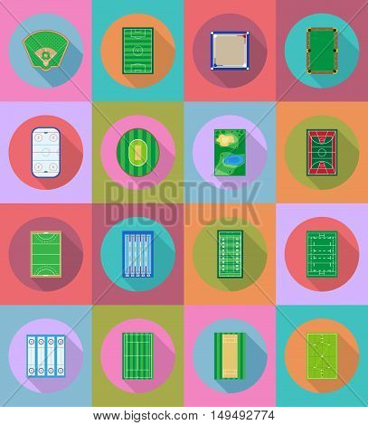 court playground stadium and field for sports games flat icons vector illustration isolated on background