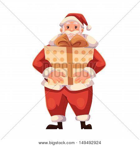 Santa Claus holding a big Christmas gift box, cartoon style vector illustration isolated on white background. Full length portrait of Santa holding a large present box, Christmas decoration element