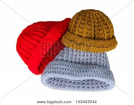 The knitted winter hat isolated on white background