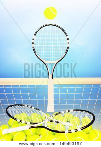 Tennis; rackets; court; sky spheres; game. 3D illustration
