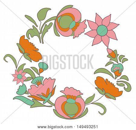 Vintage pink floral background. Flowers folk art style. Fabulous ethnic pattern Round floral frame