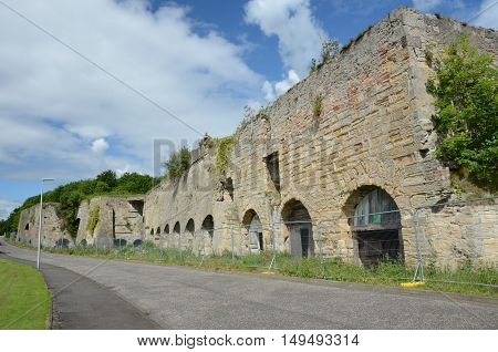 A view of a now derelict lime kiln in Fife