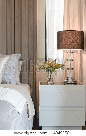 Classic Lamp Style On White Table Side In Bedroom