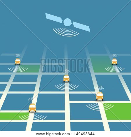 Self-Driving Taxi Concept, Mobile Application or Service Design - Vector Illustration