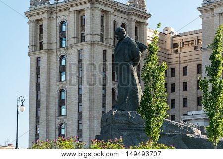 Moscow, Russia - May 14.2016. poet Taras Shevchenko monument before a hotel Radisson Royal Hotel