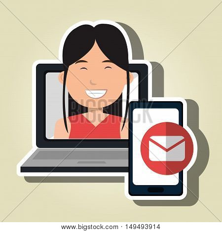 woman laptop smartphone social vector illustration eps 10