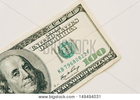 One Hundred Dollar Bill Closeup On White Background