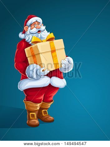 Christmas Santa Claus man with big gift in hands. Merry character the red holiday suit holding box golden bow of ribbon. Vector illustration. On blue background