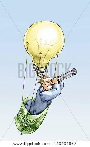 a balloon made from a light bulb symbolizing an idea raises a man looking away