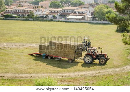 Ferrara Italy August 9 2016: hay harvest fastening and transport with a tractor
