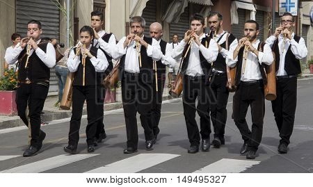 SELARGIUS, ITALY - September 8, 2013: Former marriage Selargino - Sardinia - group of musicians in traditional Sardinian costume