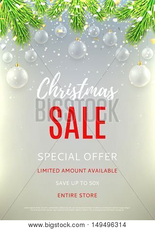 Christmas sale flyer template. Elegant background with glass toys. Beautiful vector illustration with silver confetti and shining lights. Season discount banner.