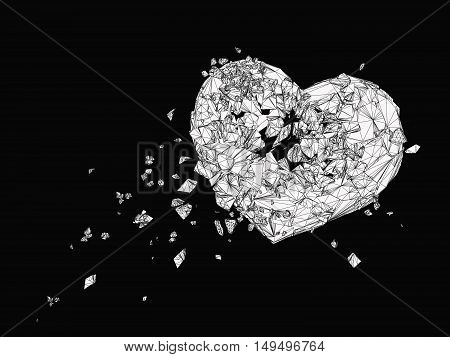 Polygonal broken heart drawing graphic in black and white