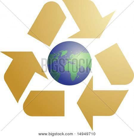 Recycling eco symbol illustration of three pointing arrows with world globe map