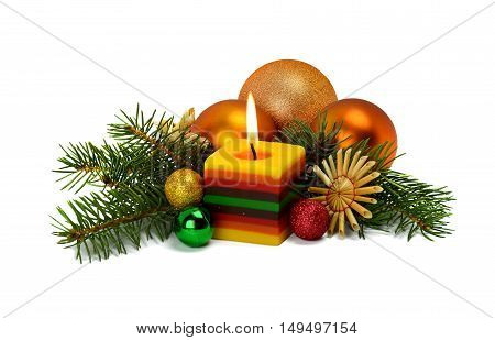 Christmas arrangement isolated on white background. Christmas tree sphere burning candle straw ornaments - all to create a festive mood.