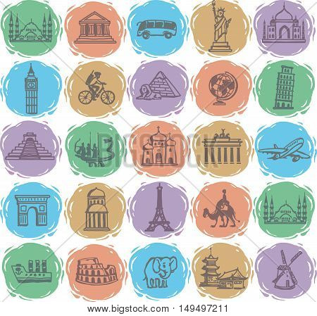 hand drawing. Set travel icons. Isolated on white background.
