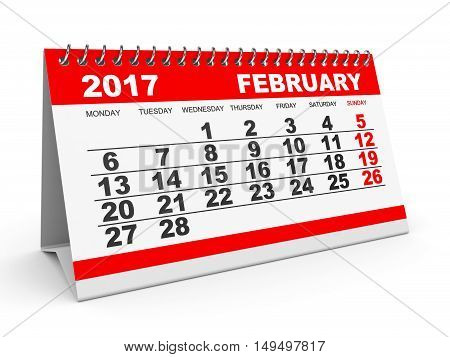 Calendar February 2017 On White Background.